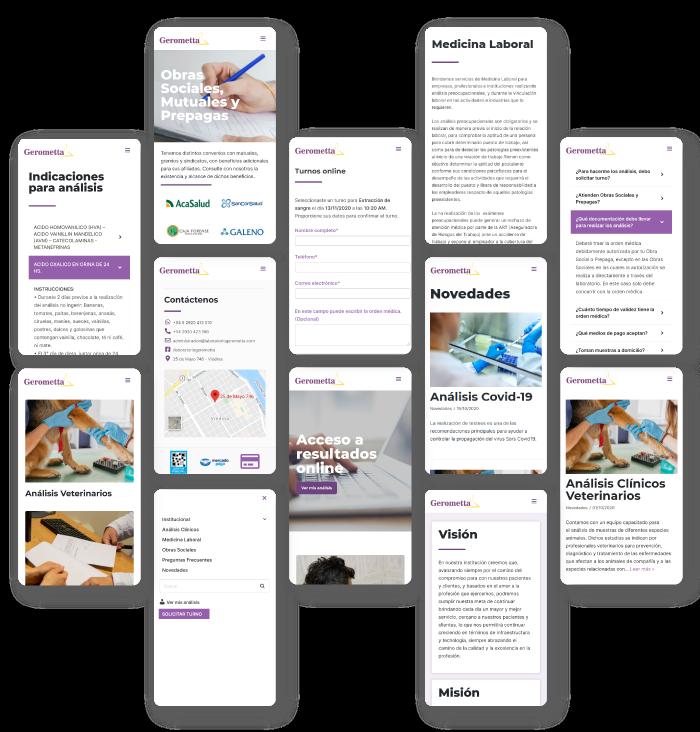 version mobile del sitio del laboratorio bioquímico gerometta